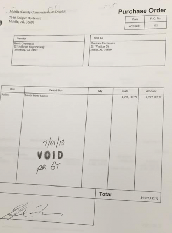 A purchase order for more than 1,000 radios was issued a month before the project they were connected to was bid out competitively. The PO was later voided by Gary Tanner, Director of the Mobile County Communications Distirct.
