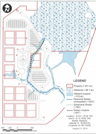 This map of Mobile County's proposed soccer complex is one of several submitted in a permitting process through the United States Army Corps of Engineers.