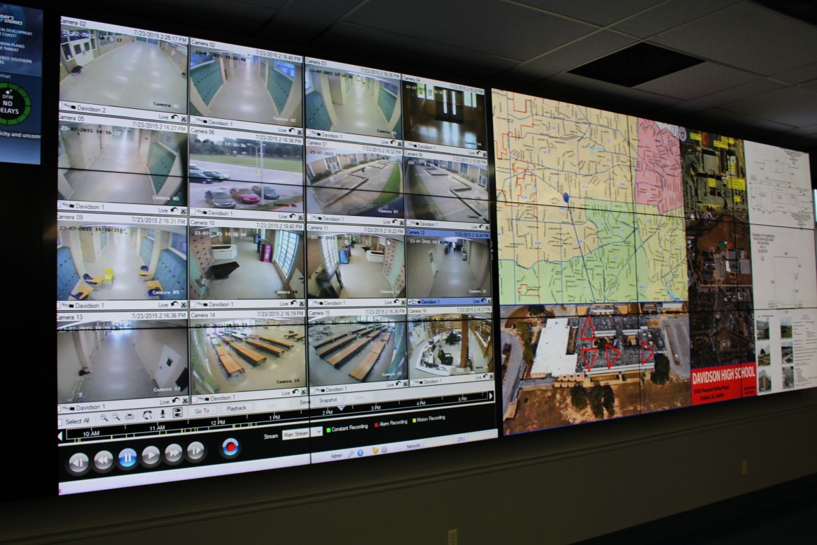 The Shield system is shown on a wall in the joint operations room of MPD headquarters.