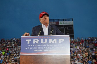 (Lagniappe/Gabriel Tynes) Real estate developer and GOP presidential candidate Donald Trump speaks at Ladd Peebles Stadium in Mobile Aug. 21.