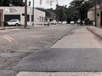 (Photo/ Lagniappe) The patchwork pavement at Ann and Dauphin streets is arguably the worst stretch of road in Midtown.