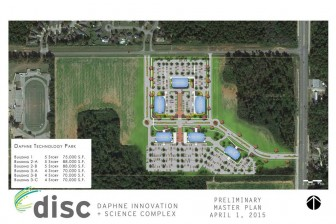 An artist's rendering of the proposed Daphne Innovation and Science Complex, to be located at the corner of State Highway 181 and Champions Way.