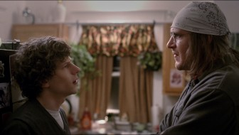 "This photo provided by courtesy of the Sundance Film Institute shows, Jesse Eisenberg, left as David Lipsky, and Jason Segel, as David Foster Wallace, in a scene from the film, ""The End of the Tour,"" directed by James Ponsoldt. The movie premieres at the 2015 Sundance Film Festival on Friday, Jan. 23, 2015. (AP Photo/Sundance Film Institute, Jakob Ihre)"