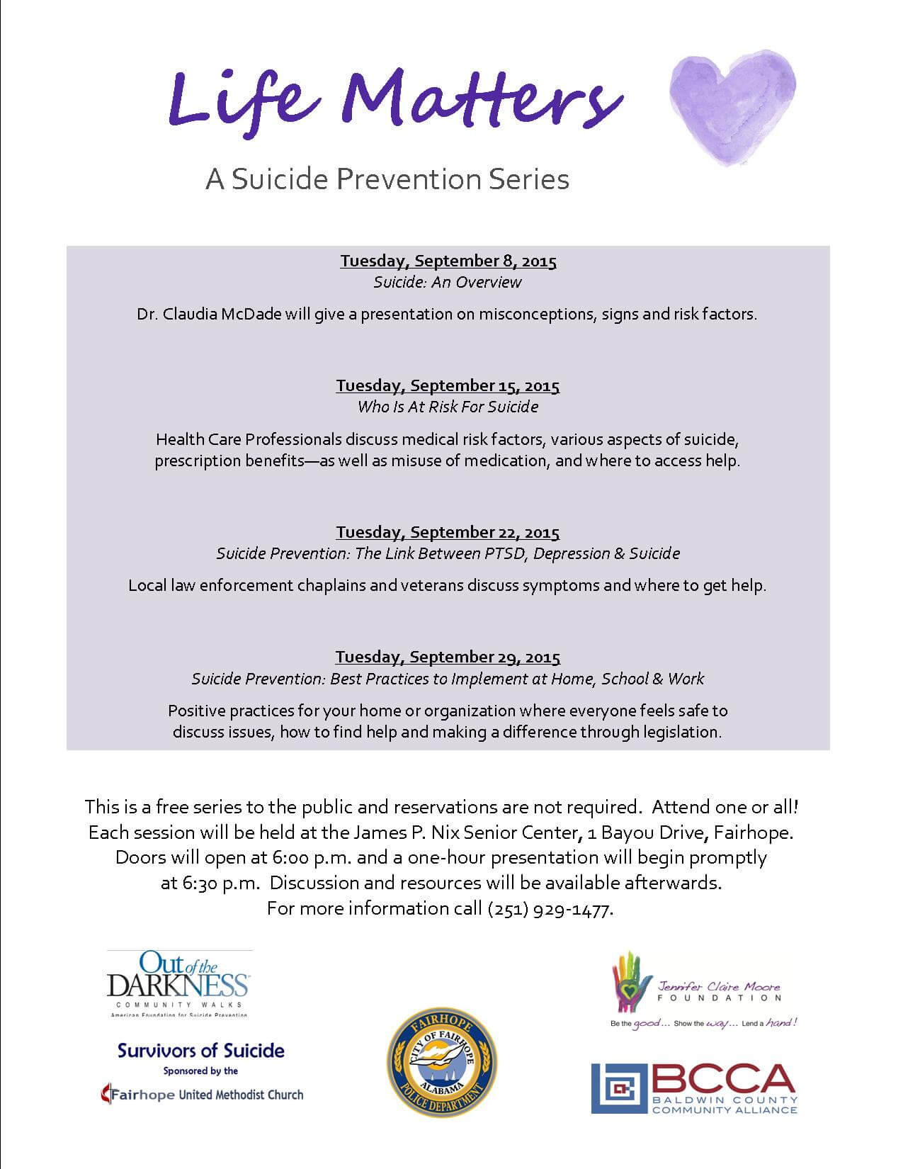Suicide prevention series begins Sept. 8 in Fairhope