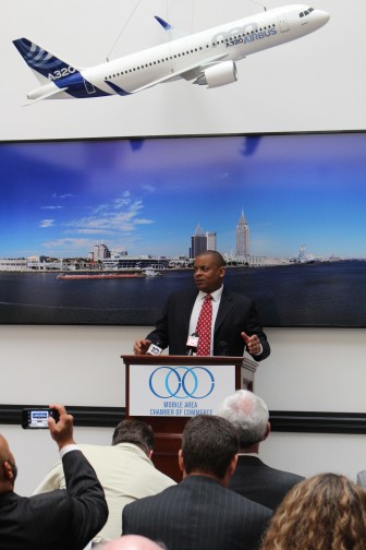 U.S. Transportation Secretary Anthony Foxx speaks to members of the Mobile Area Chamber of Commerce Thursday.