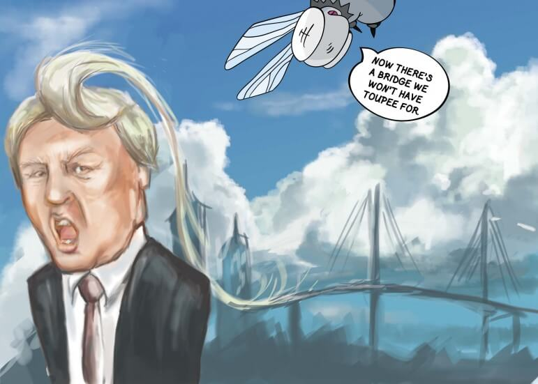 "(Cartoon/Laura Rasmussen) In his ""Solutions for Everything"" tour, Donald Trump provides  a means to complete that pesky I-10 bridge project."