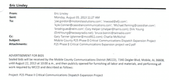 An excerpt from an email Eric Lindsley sent to prospective bidders on Aug. 5, 2013.