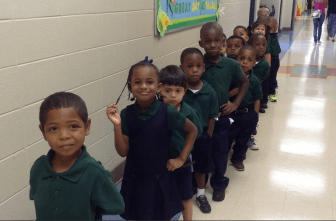 Pre-school students line up at Gilliard Elementary School. (Facebook)