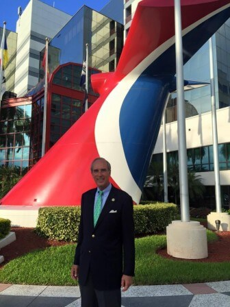 Mayor Sandy Stimpson poses in front of Carnival's headquarters in Miami this week.