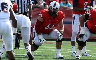 (Photo/ University of South Alabama Athletics) Senior offensive lineman Chris May is one of two returning Jaguar starters on the Rotary Lombardi Award watch list and the All-SBC first-team preseason squad.