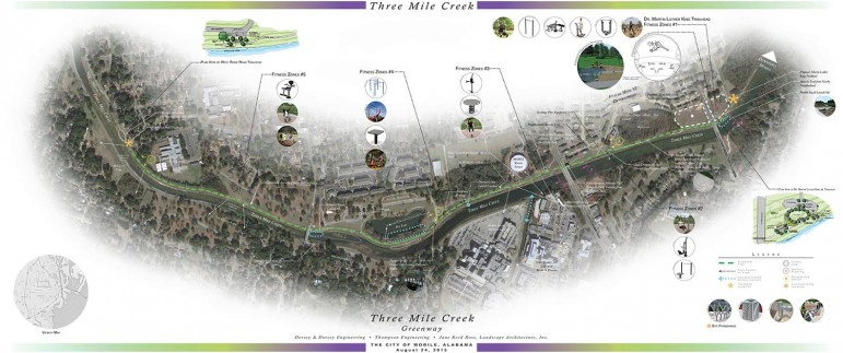 (Photo/ Dorsey & Dorsey) Draft plans for pedestrian improvements at Three Mile Creek near Tricentennial Park.