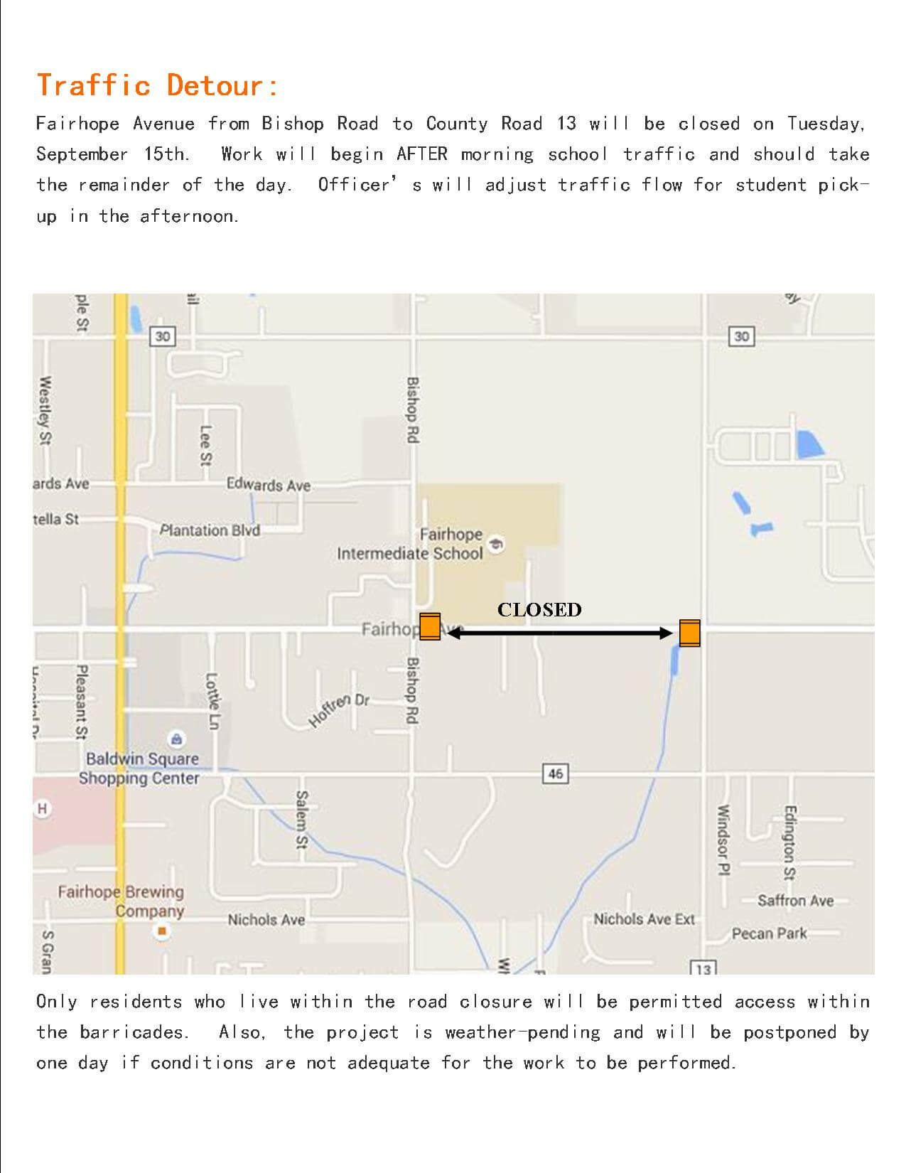 Portion of Fairhope Avenue to close Sept. 15