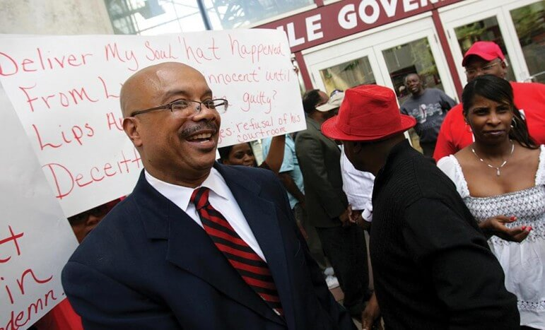 (Photo/ Daniel Anderson/Lagniappe) Former Mobile County Circuit Court Judge Herman Thomas attends a rally with supporters before being removed from the bench in 2009. Thomas was the last black judge in Mobile County's 13th judicial circuit.