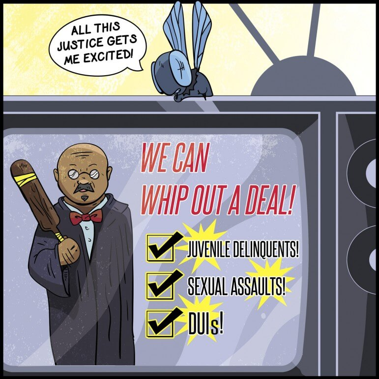 (Cartoon/Laura Rasmussen) The world is spared another cheesy TV advertisement by the state bar's decision to exclude Herman Thomas.