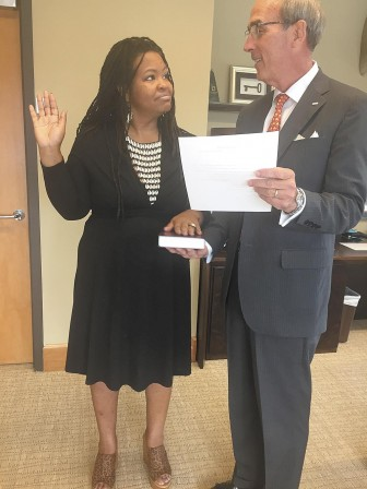 (Photo/City of Mobile) New MHB member Kim Pettway recently took the oath of office from Mayor Sandy Stimpson.