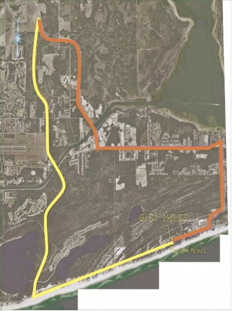 (Photo/City Orange Beach) The proposed route of a new bridge (yellow) and existing one (orange).