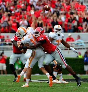 (Photo/Courtesy of the Senior Bowl) With 9.5 tackles for a loss and 4.5 sacks, Georgia outside linebacker Jordan Jenkins is a likely first-round pick in the NFL draft.