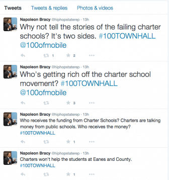 Snapshots from Rep. Napoleon Bracy's Twitter feed during a recent town hall meeting.