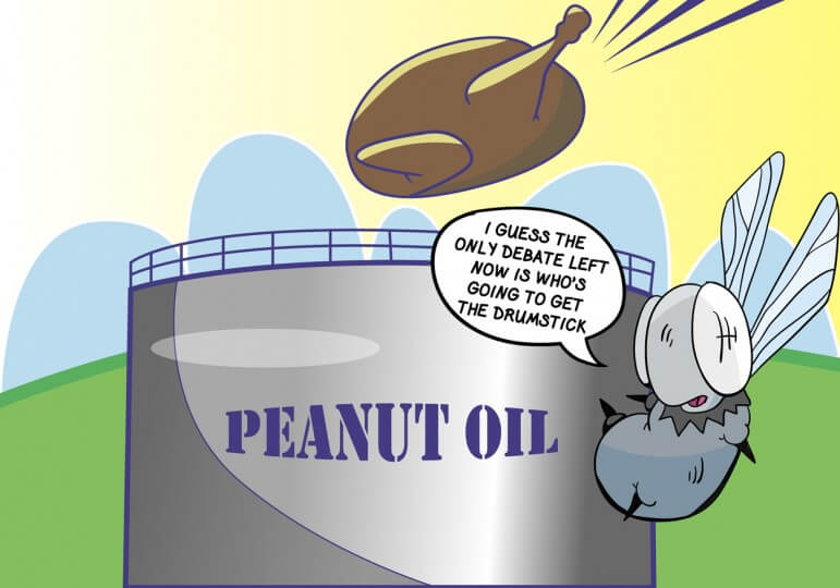 ( Cartoon/Laura Rasmussen) One possible solution to the oil tank issue along the river.