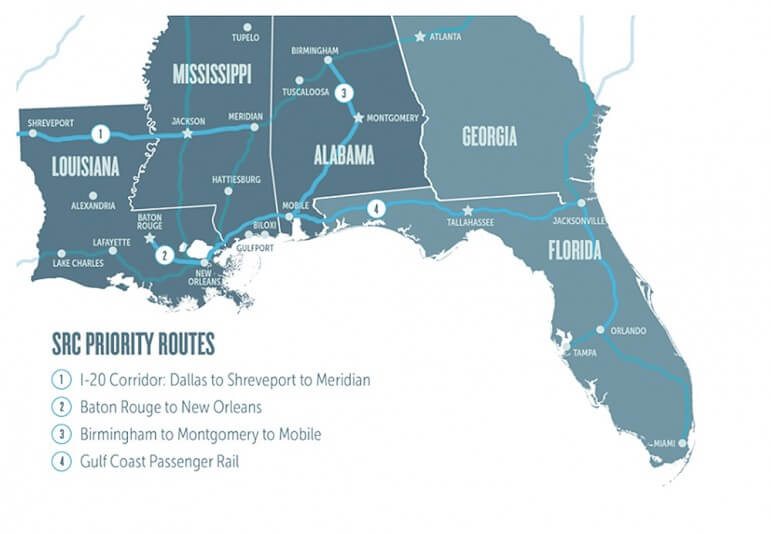 (Photo/Southern Rail Commission) The restoration of Gulf Coast passenger rail service is one of several routes considered in recent proposals.