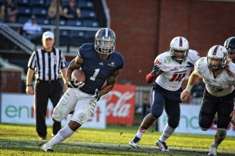 (Photo/ Courtesy of Georgia Southern University) L.A. Ramsby (1) helped Georgia Southern lead the NCAA in rushing this season. In this game against South Alabama, the Eagles ran for 489 yards.