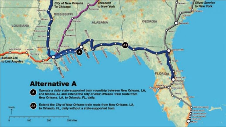 (Photo/ Courtesy Amtrak) For Alternative A, Amtrak would extend a portion of the City of New Orleans train through to Orlando. The train would make intermediate station stops at Bay St. Louis, Gulfport, Biloxi, Pascagoula, Mobile, Atmore, Pensacola, Crestview, Chipley, Tallahassee, Madison, Lake City, Jacksonville, Palatka, DeLand and Winter Park.