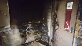 The classroom corner where a small fire erupted at Bay Minette Intermediate School on Sunday, Jan. 3.