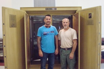 Baldwin County Maintenance Department employees Philip Ryan and Mike Tabb designed and built the Baldwin County safe replica exhibit, on display now at the satellite courthouse in Fairhope.