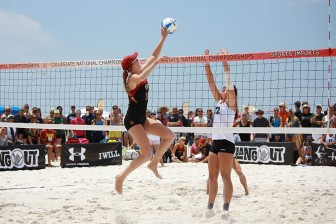 (Photo   Courtesy of AVCA) Teams compete in the American Volleyball Coaches Association's Collegiate Sand Championships in Gulf Shores in 2014, the site of the inaugural NCAA Beach Volleyball Championship scheduled in May.
