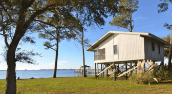 A cabin overlooks the waterfront at Alabama's Gulf State Park. (alapark.com)