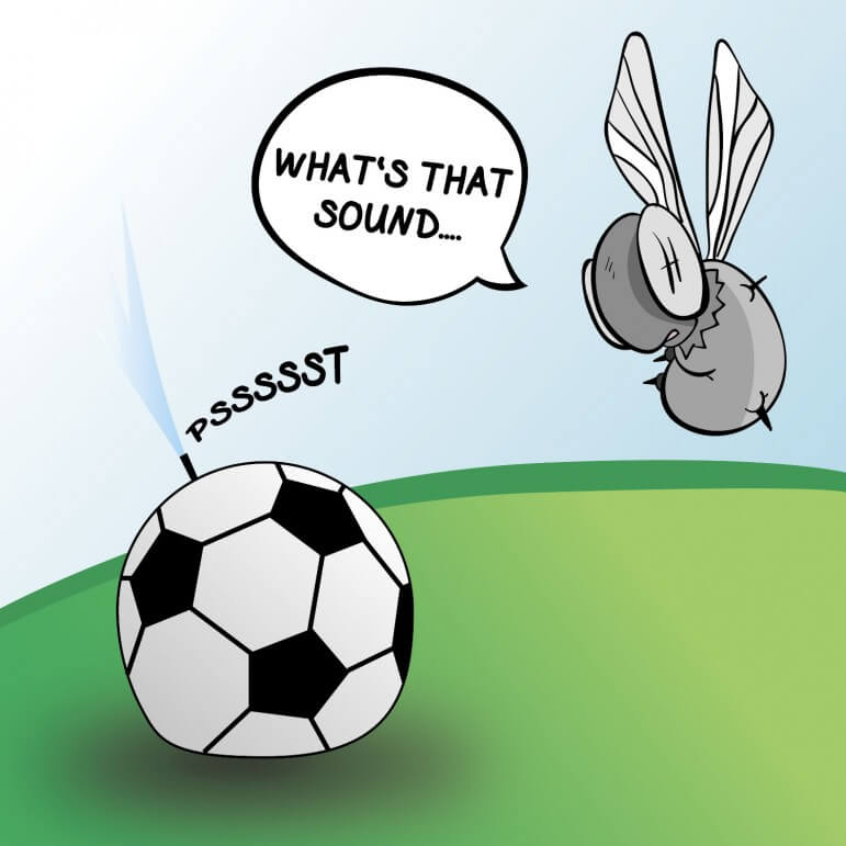 (Cartoon/Laura Rasmussen) The County's loss in its legal fight with DA's office  may take the air out of the soccer complex.