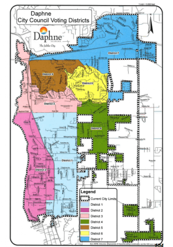The Daphne City Council new boundaries for its seven council districts at its March 21 meeting.