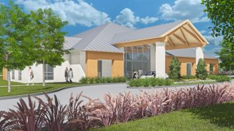 A rendering shows the exterior of the new Mitchell Cancer Institute location in Fairhope.