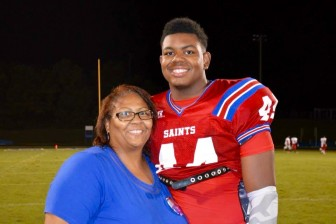 St. Paul's defensive end Ryan Johnson and his mother, Angela. (Courtesy)