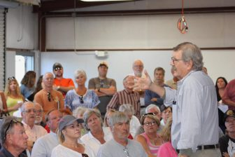 (Photo | Robert DeWitt) Fort Morgan Civic Association President Paul Barefield speaks during a public meeting earlier this year to discuss incorporating the Fort Morgan area.