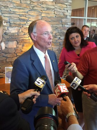 Gov. Robert Bentley takes questions from media after a May 18 press conference at Five Rivers Delta Resource Center in Spanish Fort. (Eric Mann/Lagniappe)