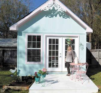 (Photo | Jo Anne McKnight) Teani Parker uses the 'she shed' built by her husband, Alan, to read books, listen to music, make crafts or relax.