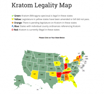 This map shows a state-by-state breakdown of Kratom's legal status in the U.S. (speciosa.org)