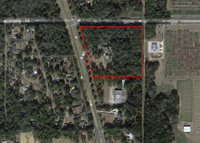 (Photo | Google) A 3.23 acre parcel owned by Fred and Kris Hayek at the corner of Greeno Road and County Road 104 in Fairhope was recently rezoned for commercial use.