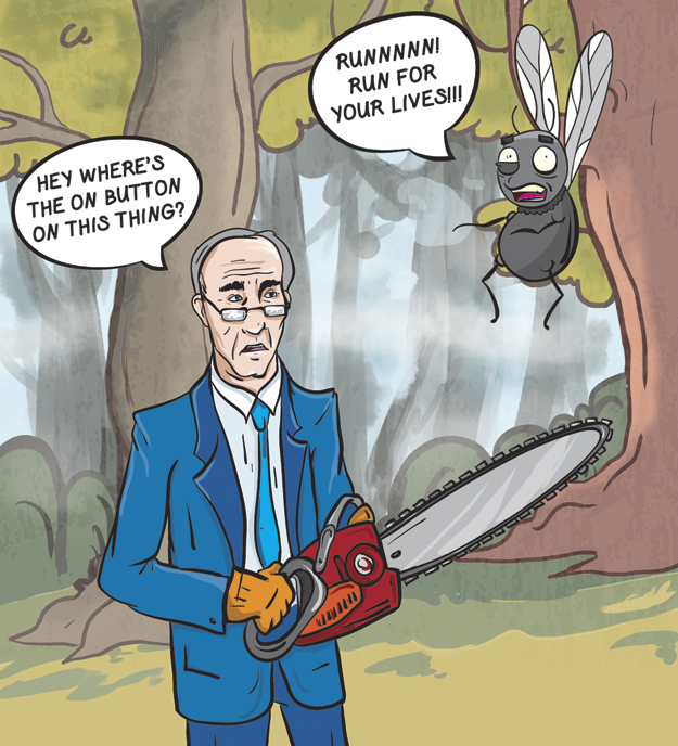 """(Cartoon/Laura Rasmussen) Mayor Sandy """"Stumpson"""" declares a war on trees in a campaign for ADA compliance."""