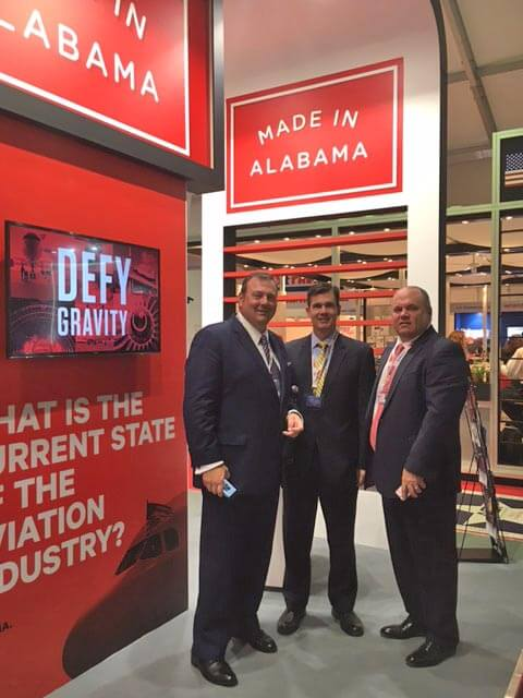 (Courtesy of the Mobile Area Chamber of Commerce) Troy Wayman with the Mobile Area Chamber; Patrick Murphy with Alabama Power; and Britton Bonner with Adams & Reese/City of Mobile at the Alabama Pavillion at the Farnborough Air Show.