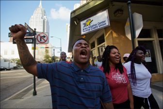 Marchers protest police brutality in downtown Mobile Friday   Lagniappe photo/ Dan Anderson