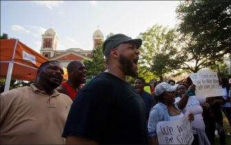 Albert Terry speaks to a group of Black Lives Matter supporters at a rally at Cathedral Square in Mobile.   Lagniappe photo/ Dan Anderson