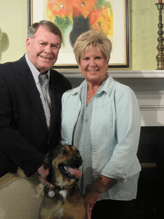 Daphne City Councilman Ron Scott  with his wife, Linda, and dog, Roxy. (Ron Scott campaign photo)