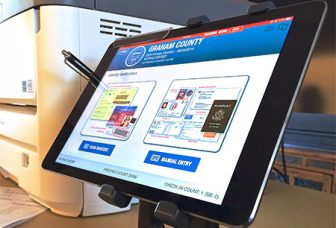A picture of the Poll Pad electronic poll book system. (KnowInk.com)