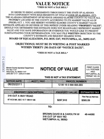 A sample of a property valuation notice from the state of Alabama.