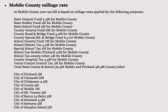 Millage rates for Mobile County municipalities.