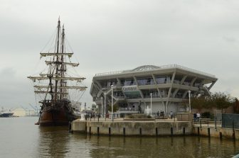 (Photo | Lagniappe) GulfQuest hosted the Spanish tall ship El Galeon last November. Officials say the museum has not reimbursed utility costs in three fiscal quarters.