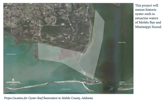 A map showing the area of an oyster reef restoration project planned in Mobile Bay.