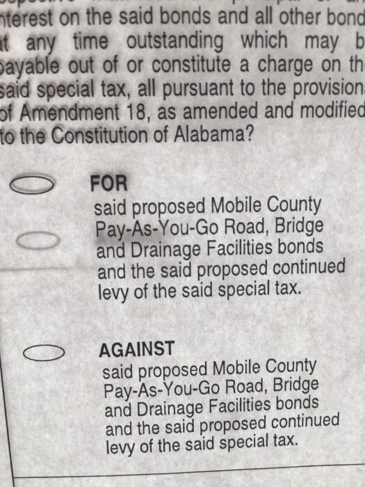 A mistake on the ballots related to a referendum authorizing the county's Pay As You Go program cause all opposing votes to be counted as blanks.